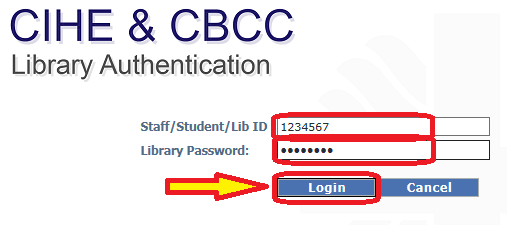 "Enter your Library ID and Password and click on ""Login"""
